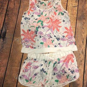 J crew silky floral pajama shorts set
